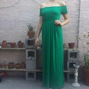 ASOS NWT Off the Shoulder Smocked Maxi Dress